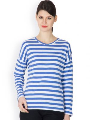 Buy Hypernation Blue And White Color Striped Round Neck T-shirt For Women online