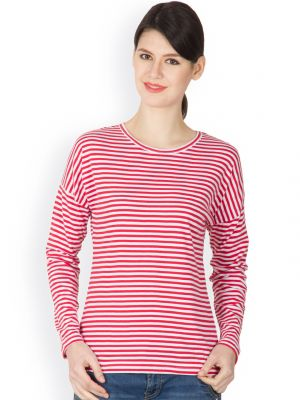Buy Hypernation Red And White Color Striped Round Neck T-shirt For Women online