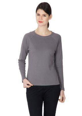 Buy Hypernation Steel Grey Round Neck Full Sleeves T-shirt For Women online