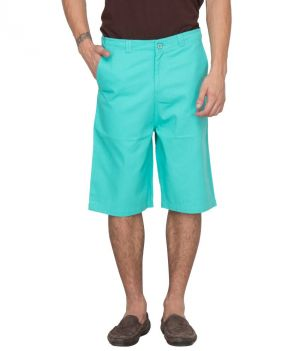 Buy Hypernation Green Twill Color Casual Shorts For Men online