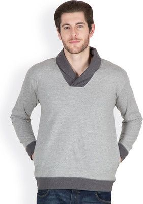 Buy Hypernation Light Grey Color Shawl Collar Cotton Men T-shirt online