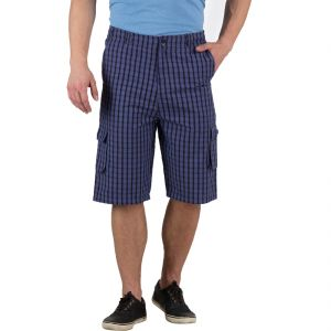 Buy Hypernation Blue And Black Check Cotton Three Fourth For Men online