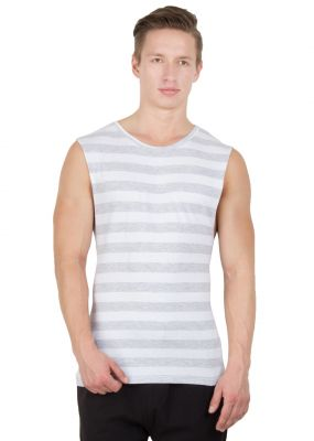 Buy Hypenation Grey And White Stripe Round Neck Cotton Muscle T-shirt For Men online