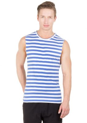 Buy Hypernation Blue And White Color Round Neck Cotton Muscle T-shirt For Men online