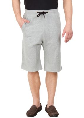 Buy Hypernation Grey Color Casual Cotton Three Fourth For Men online