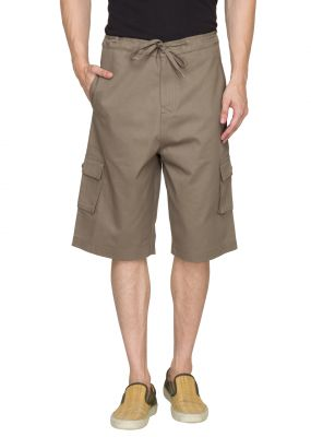 Buy Hypernation Military Green 3/4 Cotton Shorts online