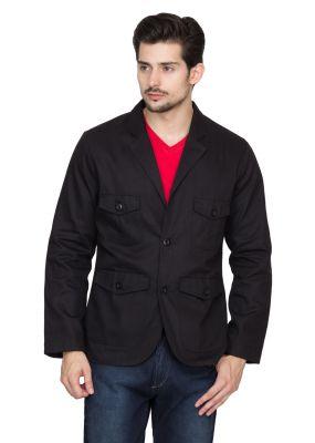 Buy Hypernation Black Twill Cotton Blazer online