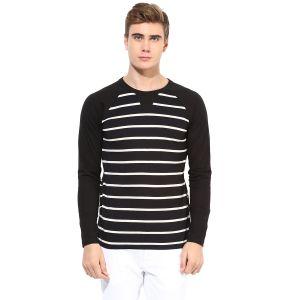 Buy Hypernation Black And White Stripe Round Neck Cotton T-shirt online