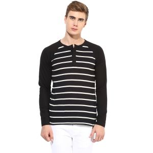 Buy Hypernation Black And White Stripe Henley Neck Cotton T-shirt online