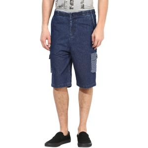 Buy Hypernation Blue And Check Pocket Denim 3/4th Cotton Shorts online