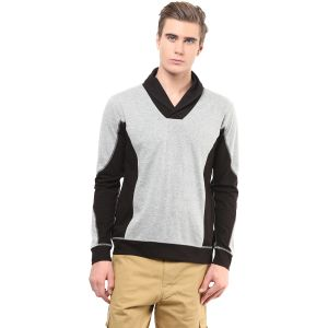 Buy Hypernation Black And Light Grey Shawl Collar Cotton T-shirt online