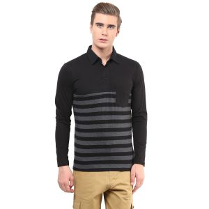 Buy Hypernation Black And Grey Stripe Poloneck Cotton T-shirt online