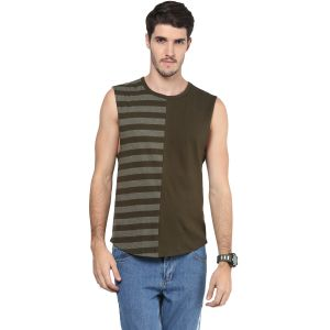 Buy Hypernation Striped Men Round Neck Muscle T-shirt online