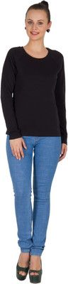Buy Hypernation Black Color Round Neck Long Sleeve Cotton T-shirt For Woman online