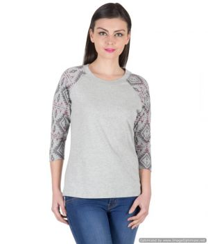 Buy Hypernation Grey Color Printed Three Fourth Sleeves T-shirts For Women online