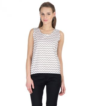 Buy Hypernation Beige Zig Zag Print Round Neck Sleeveless Cotton Top For Women online
