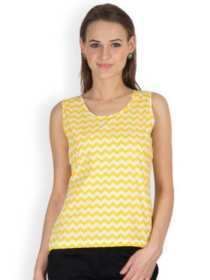 Buy Hypernation Yellow Zig Zag Print Round Neck Sleeveless Cotton Top For Women online