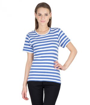 Buy Hypernation Blue And White Stripe Half Sleeves Round Neck T-shirt For Woman online