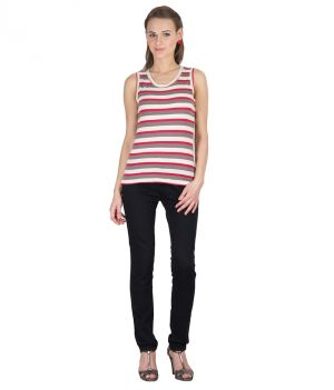 Buy Hypernation Pink And White Striped Round Neck Cotton Top For Women online