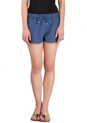 Buy Hypermation Blue Check Cotton Hot Pant online