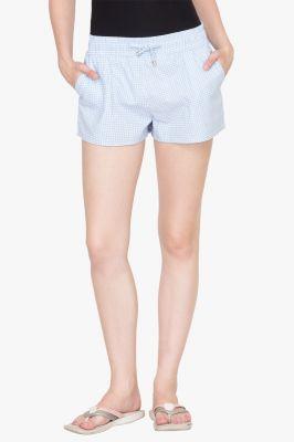 Buy Hypernation Light Blue Check Cotton Shorts online