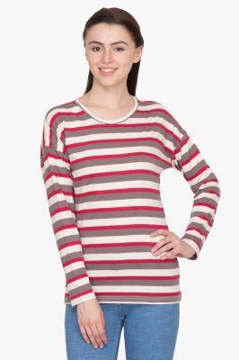 Buy Hypernation Red/ Brown/ White Stripe Round Neck Cotton T-shirt online