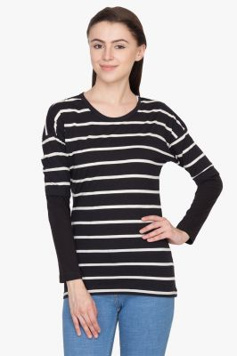 Buy Hypernation Black And White Round Neck T-shirt online