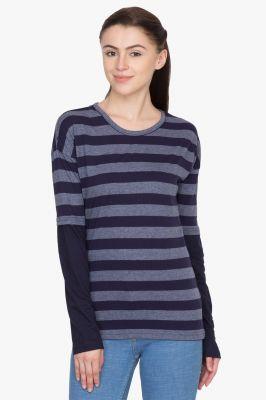 Buy Hypernation Blue And Grey Stripe Round Neck T-shirt online