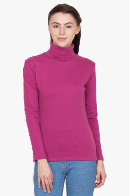 Buy Hypernation Wine Turtle Neck Cotton T-shirt online
