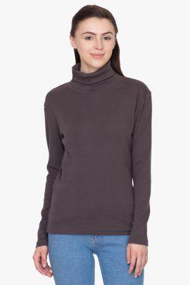 Buy Hypernation Dark Grey Turtle Neck Cotton T-shirt online
