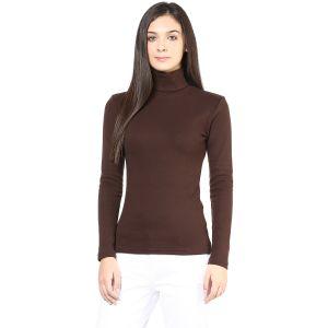 Buy Hypernation Brown Turtle Neck Cotton T-shirt online