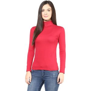 Buy Hypernation Red Turtle Neck Cotton T-shirt online