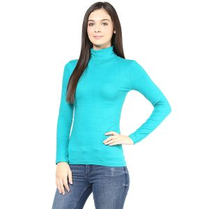 Buy Hypernation Turquise Turtle Neck Cotton T-shirt online