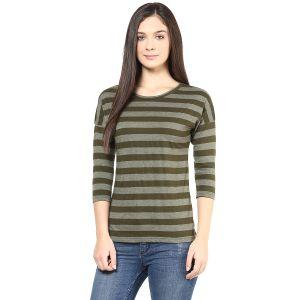 Buy Hypernation Olive Stripe Round Neck Cotton T-shirt online