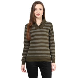 Buy Hypernation Striped Women Shawl Collar T-shirt_hypw0608 online