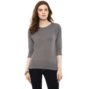 Buy Hypernation Solid Women Round Neck T-shirt online