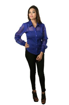 Buy Hypernation Blue Color Casual Shirts For Women online