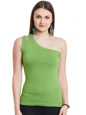 Buy Hypernation Green Off Shoulder Cotton Top online