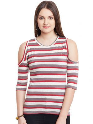 Buy Hypernation Red Brown White Stripe Cold Shoulder Round Neck Cotton Top online
