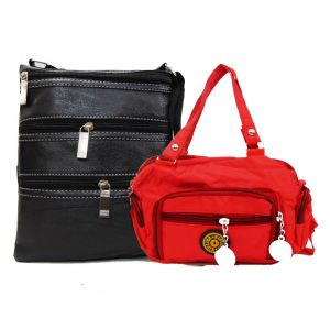 Buy Estoss Black  Multi-Pocket Sling And Black  Hand-Wallet Combo Of 2 online