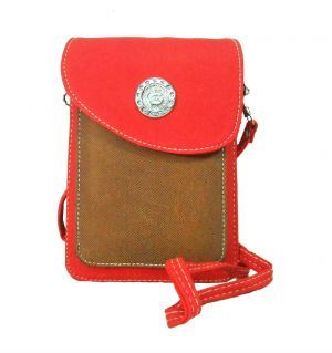 Buy Estoss Red & Brown Mobile Or Tab Sling Bag For Womens online