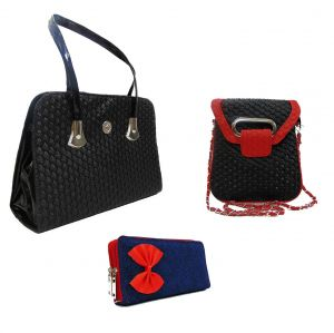 Buy Estoss Set Of 3 Handbag Combo - 1 Black Formal Handbag, 1 Black Sling & 1 Blue Clutch Purse- Hcmb10201 online