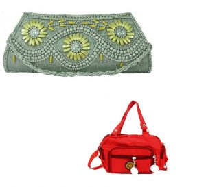 Buy Estoss Silver Party Clutch And Red Sling Bag Combo Of 2 online