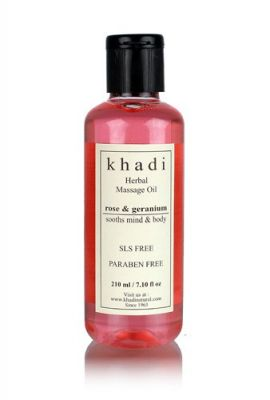 Khadi Rose & Geranium Massage Oil (sooths Mind & Body )- Without Mineral Oil