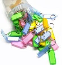 Buy 50 Assorted Double Sided Key Chain Tag Label Locking Multi Color online