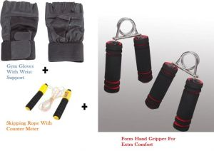 Buy Combo Of Leather Gym Gloves Skipping Rope With Meter Form Hand Gripper online