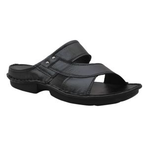 Buy Leather Soft Genuine Leather Black Slippers - (code -ls-550-bk) online