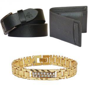 Sondagar Arts Latest Leather Belts Wallet Bracelet Combo Offers For Men Online