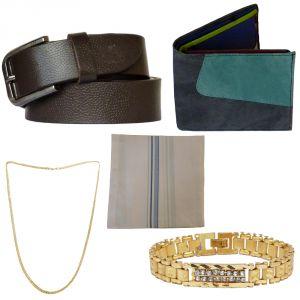 Buy Sondagar Arts Latest Leather Belt Wallet Bracelet Chain Handkerchief Combo Offers For Men online