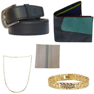 Buy Sondagar Arts Latest Leather Belt Wallet Bracelet Chain Handkerchief Combo Offers For Men online